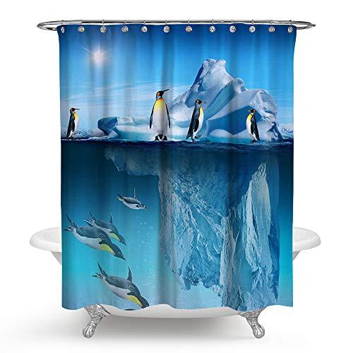 kisy Wasserdicht Schimmelresistent Dusche Badewanne Vorhang blau Frozen Antarktis Gletscher Pinguin Polyester Duschvorhang (180cm × 180cm)