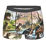 Calzoncillos bóxer para hombre de dinosaurio antiguo lindo Dino ropa interior pantalones cortos clásicos, Negro, L