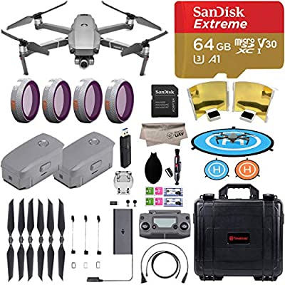 DJI Mavic 2 Zoom Drone Quadcopter with Dolly Zoom Camera, comes 2 Batteries, 64GB Extreme Micro SD, PGY ND Filter, Landing Pad, Signal Booster, Water Resistant Carrying Case