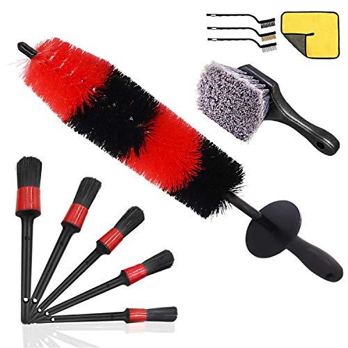 Queta 11pc Auto Detailing Brush Set Car Cleaner Brush Soften und festen Mischfaser des Reinigungsbrush Autopflege Radbürste perfekt für Auto Motorrad oder andere Fahrzeug Auto Reinigungswerkzeug