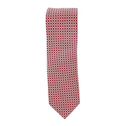 Cotton Park - Cravate 100% soie rouge et blancs - Homme