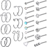 Chinco 32 Pieces C-Shaped Nose Ring L-Shaped Hoop Tragus Nose Studs Bone Curved Hoop Tragus Cartilage Hoop Piercing (Style Set 2, Steel Color)