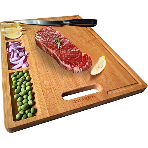 "HHXRISE Organic Bamboo Cutting Board For Kitchen, With 3 Built-In Compartments And Juice Grooves, Chopping Board For Meats Bread Fruits, Butcher Block, Carving Board, BPA Free (M-15.2x10.5"")"