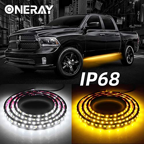 ONERAY 2PCS 70inch IP68 LED Running Board Light Truck Side Marker White & Amber Turn Signal Flexible Step Strip Lights Combo Kit for Trucks Pickup SUV