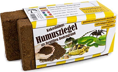 Humusziegel Kokos Einstreu Reptilien Bodengrund, ca. 18 Liter, 2 x 650 g
