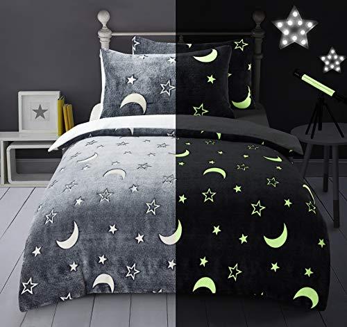 IHIDirect Glow in the dark teddy fleece duvet cover and pillowcase bedding set Single