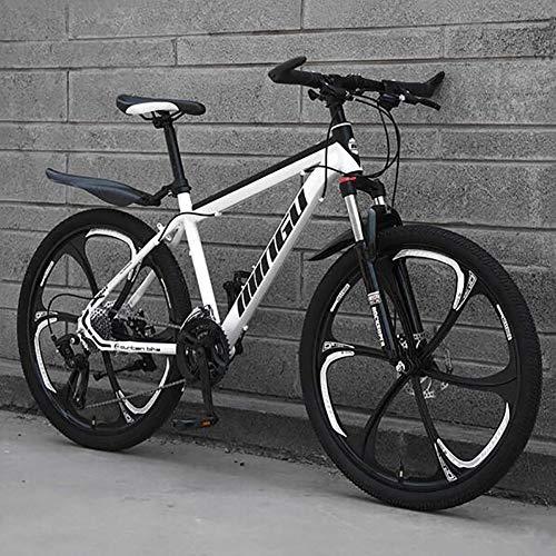 WLKQ Pieghevole Mountain Bike, MTB, Bici Biammortizzata, 26 velocità Doppia Sospensione Biciclette, Telaio in Acciaio ad Alto Tenore di Carbonio Mountainbike, Adulti Bike,White 6 Spoke,27 Speed