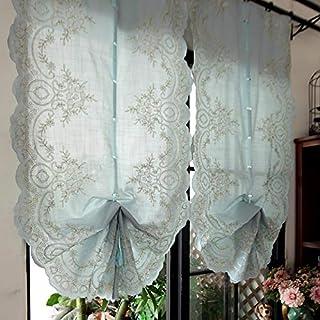欧式 バルーン カーテン 淡いブルー 出窓カーテン 2枚入り 刺繍模様 モダン インテリア