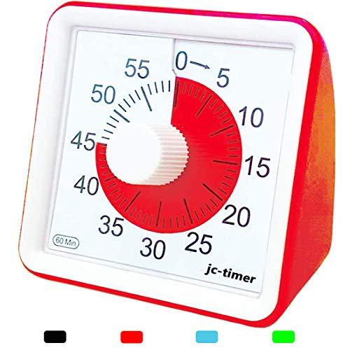タイマー, Living Hall 60分, 視覚タイマー, 教室のカウントダウンクロック, 子供と大人のためのサイレントタイマー, 授業時間管理ツール (赤, 7.7cmX7.7cmX4cm)
