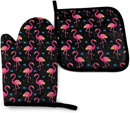 Divertidos juegos de manoplas y porta ollas para horno con delfines y peces de coral,resistentes al calor,para cocinar,hornear,asar a la parrilla,pájaros exóticos,flamencos rosados,lirios de agua,lot