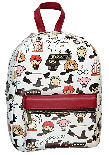 Harry Potter Allover Chibi Character Pattern Faux Leather Tote Bag Mini Backpack