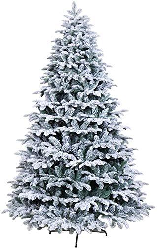 TY&WJ 210cm 7FT Neve Bianca Spolverata Albero di Natale Artificiale,Spenta Albero di Natale Bianco con Effetto Neve Incernierato Nevoso Alberi di Natale Facile Montaggio con Supporto Metallico