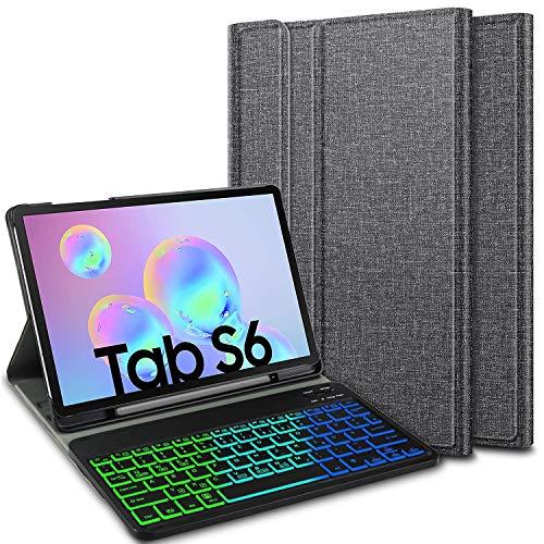 ELTD Tastatur Hülle für Samsung Galaxy Tab S6 (Deutsches QWERTZ), Hülle mit 7 Farben LED-Hintergrundbeleuchtung Kabellose Tastatur für Samsung Galaxy Tab S6 T860/T865 10.5 Zoll (Grau)