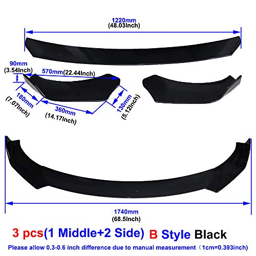 QQKLP Universal-Carbon-Faser/Black Car Frontstoßstange Lip Splitter Auto Diffusor-Schutz-Schutz,Black a02