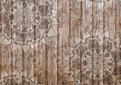 wandmotiv24 Fototapete Holzwand Mandala Holzoptik, XL 350 x 245 cm - 7 Teile, Fototapeten, Wandbild, Motivtapeten, Vlies-Tapeten, Orient, Grau, Holz M0722