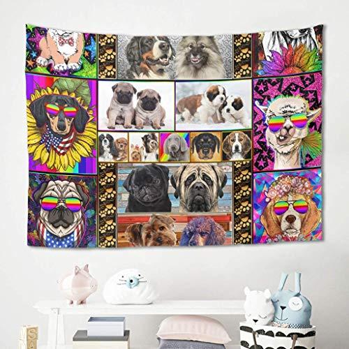 Perro Gafas de arcoíris de colores Animal Alpaca Pug Tapiz Colgante de pared Ropa de cama Tapiz Mantas Estera de picnic Mantel Fondo de sofá para una hermosa decoración de dormitorio universitario en