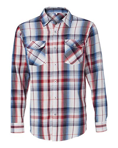Burnside B8202 - Long Sleeve Plaid Shirt, Red, Medium