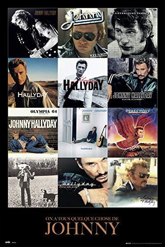 Erik® - Poster Johnny Hallyday Covers - Papier Glacé - 91x61cm