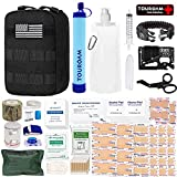 TOUROAM Emergency First Aid Trauma Kit, Personal Survival Water Filter Purifier Straw, IFAK MOLLE Tactical Bag with Compress Israeli Bandage, EMT Shears for Vehicle Camp Hunt Adventure