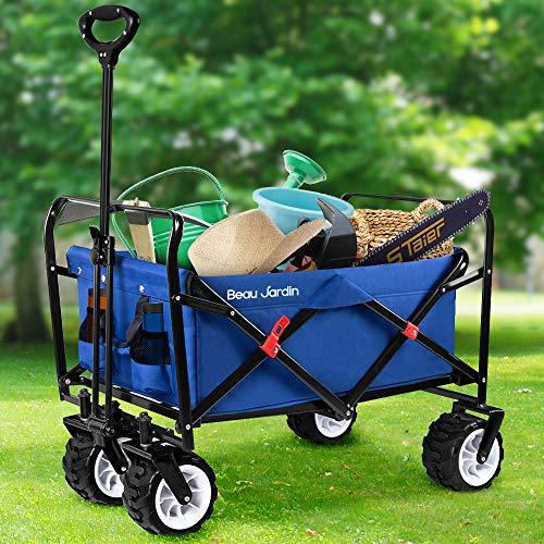 Carretillas de Carro Plegable con Carro Plegable de Mano Carro transporte para jardín Carro para playa Carga Hasta 100kg Azul