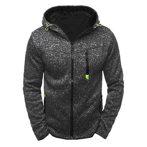Tefamore-Hommes Sweat-Shirts Hoody Hoodies Slim Zipper Veste Manteau (XL, Noir)
