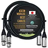 2 Units - 3 Foot - Balanced Microphone Cable Custom Made by WORLDS BEST CABLES - Using Mogami 2549 (Black) Wire and Neutrik NC3MXX & NC3FXX Silver XLR Plugs