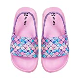 Kids Slide Sandal Summer Beach Water Shoes Casual Slip-On Flat Shoes Slippers(Fish Scales Pink size infant 4)