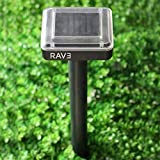 6. RAV3 Mole & All Other Burrowing Animals' Heavy-Duty Repellent Stakes | Pack of 4 | Solar Powered | Ultrasonic | Weatherproof