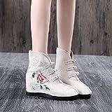 Zapatos Bordados para Mujeres Botas Bordadas Jacquard Tela Botas Cortas Últimas señoras otoñales Hidden Wedge Heel Botines Fall Shoes Tacones Bordados Linyn (Color : Model 2 Beige, Size : 37)