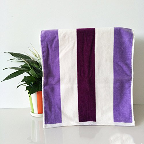 ZHFC reiner baumwolle handtücher handtücher reiner baumwolle wasseraufnahmefähigkeit handtücher farbige streifen geschenk kosmetiktücher werbeartikel blau lila 34 * 76 2,Die veilchen,34 × 76