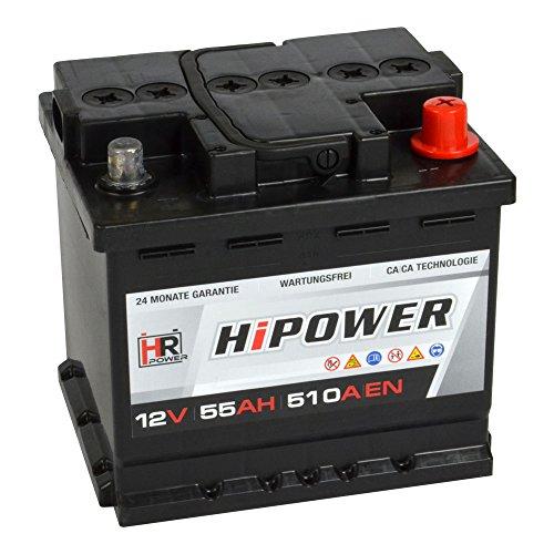 HR HiPower Autobatterie 12V 55Ah 510A/EN Starterbatterie ersetzt 44Ah 45Ah 46Ah 50Ah 60Ah 62Ah