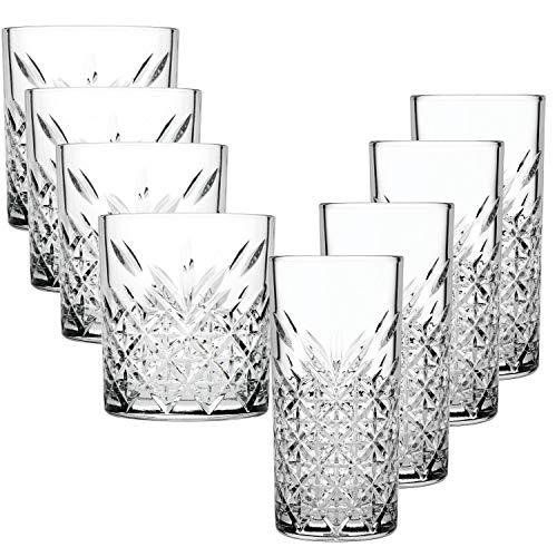 Pasabahce Glas kristall Set 4stk Whisky Glas und 4stk longdrink Gläser für einen wunderbaren cocktail Abend.