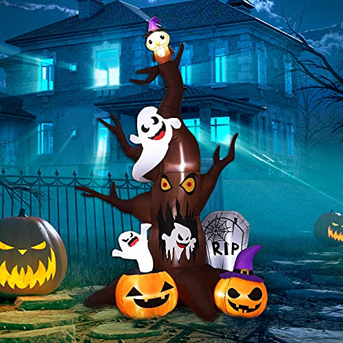 Halloween Inflatables Outdoor Decorations – 8.85 FT Dead Tree with White Ghost, Pumpkin,Owl,Tomb,Blow Up Yard Decor with 8 Led Lights Built-in for Holiday Party Garden Lawn