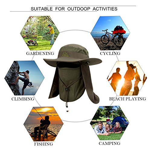 YR.Lover Outdoor UV Sun Protection Wide Brim Fishing Cap with Removable Flap Army Green