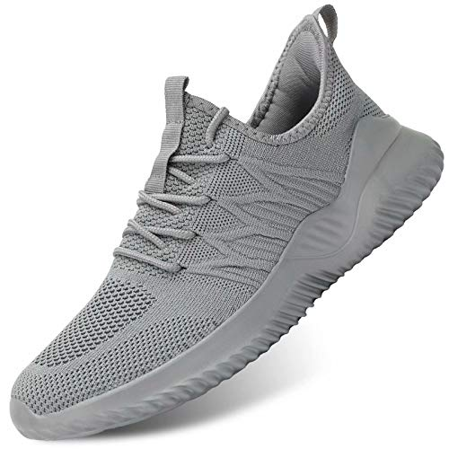Mens Fashion Walking Sneakers Trainers Running Tennis Shoes Athletic Sport Jogging Gym Breathable Soft Sole Grey