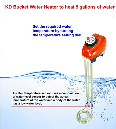 1300W Immersion Heater, Water Heater with Adjustable Thermostat, Water Level Auto Shutoff for Overheat Prevent, Stainless Bucket Heater, Warms up in Minutes 5Gallons of Water, KD Heater