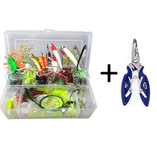 177pcs/box Lures Sets and Accessories Kit with Tackle Box and Fishing Pliers, Including Hard Soft Plastic Fishing Lures, Spoon Bait, Crankbait, Minnow, VIB, Shrimp, Earthworms, Jig Hooks (235PCS)