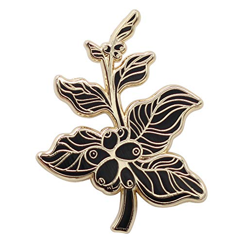 REAL SIC Coffee Berry Enamel Pin, Coffee Branch Lapel Pin, Jewelry Quality Coffee Lovers Brooch Lapel Pin for Jackets, Backpacks, Hats, Bags & Tops (Black)