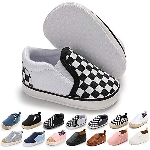 RVROVIC Baby Boys Girls Shoes Canvas Toddler Sneakers Anti-Slip Infant First Walkers 12Color (12cm (6-12months), Black)