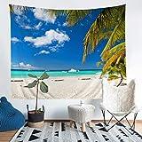 Tapiz con temática de playa para colgar en la pared para niños y niñas adultos Tropical Palm Leaf Manta de pared hawaiana Beach Wall Art Summer Holiday Room Decor Sofa Cover grande 58x79