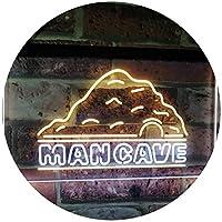Man Cave Decoration Boy Room Den Garage Display Dual Color LED看板 ネオンプレート サイン 標識 白色 + 黄色 600 x 400mm st6s64-i3069-wy