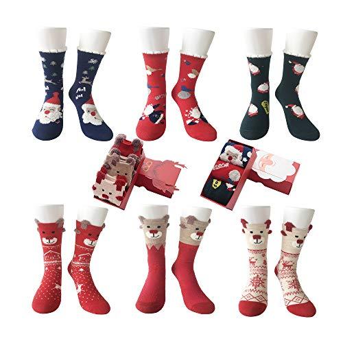 LIKERAINY Chicos Chicas Algodón Calcetines de Navidad para Niños 5-10 Años 6 Pares Unisexo