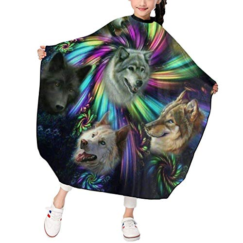 Just Relax Shop Spirale Wolf Familie lustige Wölfe Alaska Kopf Kinder Haarschneider Schürze Cape Föhn Friseur Werkzeug für Kinder 99 x 119 cm