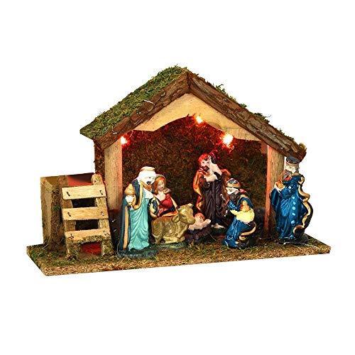 3 en 1 Ensemble de Noël : 1 crèche lumineuse + ses 8 santons