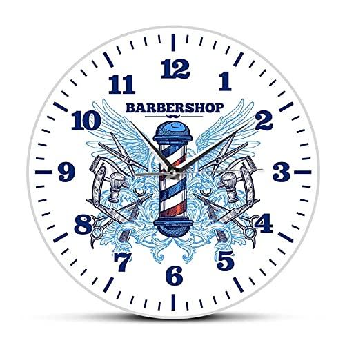 xinxin Relojes de Pared Peluquería Diseño Moderno Reloj de Pared Peluquería Cortador Poste Silencioso Reloj de Cuarzo Hipster Hombre Club Decoración Reloj de Pared Colgante