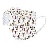 50 Stück Einmal-Mundschutz, Einweg Erwachsene Mundschutz mit Motiv Weihnachten Bunt MNS Mund Nasenschutz 3 Lagig Atmungsaktiv Bandana Halstuch für Damen Männer