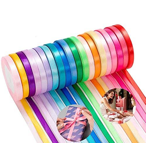 Cinta de Raso, Colores Mezcla Rollo de Raso de Doble Cara Satén de Seda para Embalaje Decoración de Regalo Cajas Flores Boda Navidad Fiestas Manualidades (10 Colores-10mm*220m)