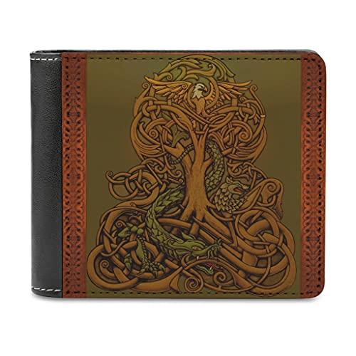 Magiböes Cartera de piel sintética para hombre, diseño vikingo, árbol de la vida, cuervo dragón, lobo, regalo para hombres, marido, padre o hijo, Blanco, Einheitsgröße
