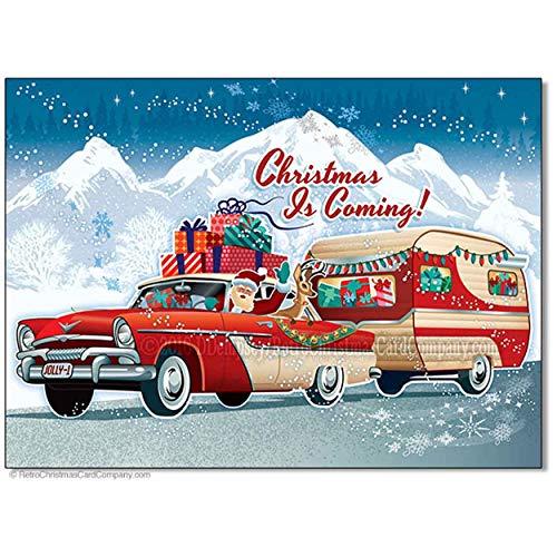 Santas Vintage Camper Christmas Cards, Package of 8