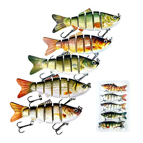 DOUBFIVSY 5Pcs Bass Fishing Lures Set, 3.9' Multi Jointed Fishing Baits Topwater Bass Lures Carbon Steel Hard Bait Slow Sinking Realistic Swimbaits Lures for Bass Trout Freshwater Saltwater